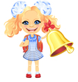 girl in a blue school dress rings the bell vector image vector image