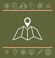 Map icon with pin pointer vector image