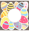 Easter eggs pattern on a brown vector image