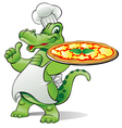 pizza alligator chef vector image