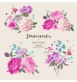 Set vintage floral bouquet of peonies vector image vector image