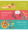 Fast food pizza delivery service fresh ingredients vector image