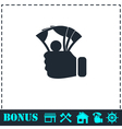 Hand holding money icon flat vector image