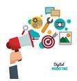 hand holding speaker digital marketing vector image