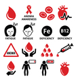 Blood anemia human health icons set vector image