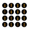 golden grain ears on black rounds vector image