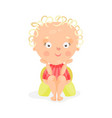 adorable cartoon baby girl sitting on a yellow vector image