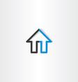 black blue house line icon vector image
