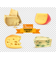 Cheese 4 Realistic Images Transparent Set vector image