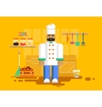 chef in uniform kitchen utensils furniture vector image