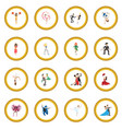 dances cartoon icon circle vector image