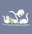 kittens play with ball of threads vector image