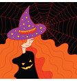 witch girl in the hat and web doodle colorful vector image