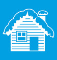 wooden house covered with snow icon white vector image