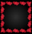 translucent red heart shaped frame are located vector image