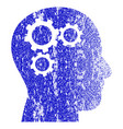 brain gears grunge textured icon vector image
