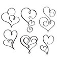set of flourish calligraphy vintage hearts vector image vector image