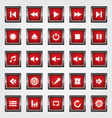 Media Button red vector image vector image