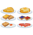 breakfast menu on the plates vector image