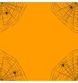 Halloween orange background with spider web vector image