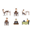 man at desktop icon set cartoon style vector image
