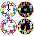 set of a colorful clocks vector image