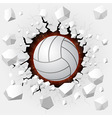 Volleyball and with wall damage vector image