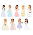 Wedding bride girl characters vector image