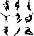 jumping people silhouette vector image