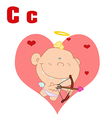 Baby cupid cartoon with letter vector image