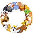 Cute animals around globe vector image