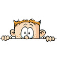 funny boy peeking out - isolated on white vector image