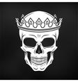 Skull King Crown design element on black vector image