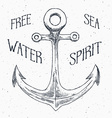 Hand drawn sketched anchor textured grunge vintage vector image