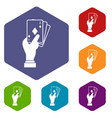 hand holding playing cards icons set vector image