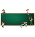 Kids around the empty greenboard vector image vector image