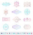 Set of colored hipster line emblems and signs vector image