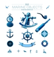 Blue marine objects vector image