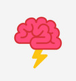 brain with lightning brainstorm concept vector image