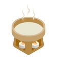 Cup water heated candles 3d isometric icon vector image