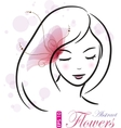 girl with pink flower vector image