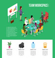 team workspace isometric 3d poster vector image