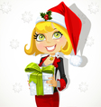 Festive business lady in Santas cap gives a gift vector image