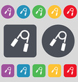Hand grip trainer icon sign A set of 12 colored vector image