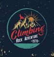 mountain climbing hand drawn emblem vector image