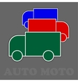 three trucks in green red and blue vector image