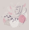 women profile flowers back vector image