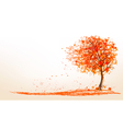 Autumn background with a tree and golden leaves vector image vector image