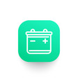 battery line icon on green shape vector image