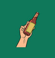 bottle with drink in hand vector image